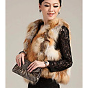 Wonderful Collarless Red Fox Fur Casual/Party Vest