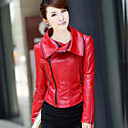 Long Sleeve Turndown Collar Lambskin Leather Casual/Office Jacket (More Colors)