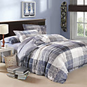 Modern Grey Plaid Velvet Full 4-Piece Duvet Cover Set