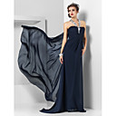 Sheath/Column Halter Sweep/Brush Train Chiffon Evening Dress