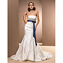 Trumpet/Mermaid Strapless Chapel Train Satin Wedding Dress with A Belt
