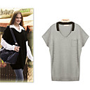 Women's Short Sleeve Cashmere Blend Pullover Top
