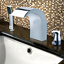 Chrome Finish Contemporary Style Stainless Steel Widespread Bathroom Sink Faucets with Handheld Faucet