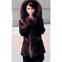Long Sleeve Fox Fur Hooded Collar Rabbit Fur Casual/Party Coat (More Colors)