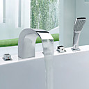 Contemporary Style Widespread Chrome Finish Stainless Steel Bathtub Faucets with Handheld Faucet
