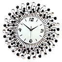 "20"" Modern Diamond-Studded Metal Wall Clock"