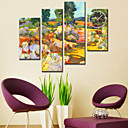 35&quot; Country Colorful Flower Wall Clock in Canvas 4pcs
