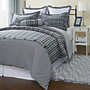 3PCS Korsor Hunterbooth Check Cotton Flannel Twin/Queen/King Duvet Cover Set