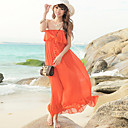 Women's Ruffles Beach Strapless Dress