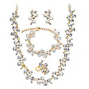 Gorgeous Cubic Zirconia Wedding Bridal Jewelry Set Including Necklace Bracelet Ring And Earrings