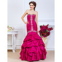 Trumpet/Mermaid Sweetheart Floor-length Taffeta Evening Dress With Beading And Pick Up Skirt