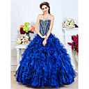 Ball Gown Sweetheart Floor-length Organza Evening Dress With Shining Beading And Cascading Ruffles