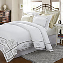 3PCS 400TC Ronne Flower Embroidery Cotton Sateen Twin/Queen/King Duvet Cover Set