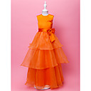 A-line Jewel Floor-length Satin And Organza Flower Gril Dress