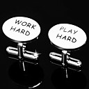 &quot;Work Hard &amp; Play Play Hard&quot;Cufflinks