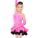 Performance Dancewear Spandex and Satin with Ostrich Hair Latin Dance Dress For Children More Colors