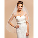 Two-tier Elbow Wedding Veil With Applique Edge