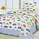 3PCS Car Plane Pattern Cotton Queen Size Quilt Set
