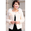 Long Sleeve Fox Fur Collar Rabbit Fur Casual/Party Jacket (More Colors)