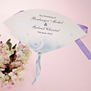 Personalized Pearl Paper Hand Fan - Blue Romance (Set of 12)