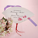 Personalized Pearl Paper Hand Fan - Lovely Flower (Set of 12)
