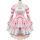Long Sleeve Short Rosa Cotton Princess Lolita Kleid