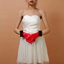 Satin Fingertips Wedding Bridal Gloves With Bow