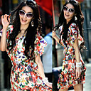 Vestido estampado floral Ruffled mulheres (Vest &amp; vestido)