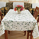 Country Polyester Cotton Blend Jacquard Green Floral Table Cloths