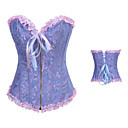 Blue Satin Pink Trim Country Lolita Boned Corset