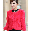 Beautiful 3/4 Sleeve Collarless Rabbit Fur Casual/Party Jacket(More Colors)