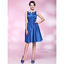 A-line Knee-length Taffeta Cocktail Dress With Notched Neckline