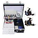 2 pistole kit tatuaggio con Mini Power e inchiostro 7pcs