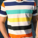 Round rayures colores Homme T-shirt basique  manches courtes