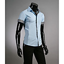 Men's Shirt Collar Stripes Contrast Color Short Sleeve Shirt