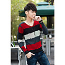 Men 's Stripes V Neck Long Sleeve T-Shirt
