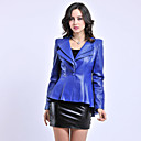 Long Sleeve Standing Collar Sheepskin Casual/Party Jacket