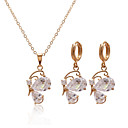 Shining Cubic Zirconia 14K Gold Plated Wedding Bridal Jewelry Set Including Necklace And Earrings