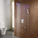 LED Thermostatic Contemporary Wall Mount Shower Faucet (Chrome Finish)