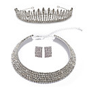 Gorgeous Alloy With Clear Rhinestones Silver Jewelry Set Including Necklace, Earrings And Tiara