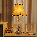 40W Classic Table Light with Crystal Lamp Pole and Elegant Fabric Shade