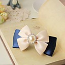 Women's Elegant Pearl Handmade Blue Mix White Bow Hair Clip
