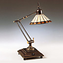 60W Vintage Tiffany Glass Light with Resin Stand and Adjustable Arm