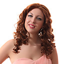 Lace Front Auburn Long Curly Mixed Hair Wigs with Twenty-percent Human Hair