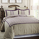 5PCS Purple Fret Embroidery Linen Duvet Cover Set