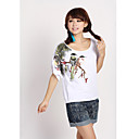 Women's Cotton Bird Embroidery T-Shirt