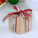 "Square Ivory Favor Box With ""Thank You"" Ribbon (Set of 12)"