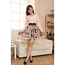 Women's Chiffon Bow Print Decor Long Sleeve Mini Dress