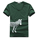 Men's V Neck Zebra Short Sleeve T-Shirt