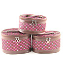 3PCS Cosmetic Makeup Pouch Portable Case Bag Set with Mirrors Cartoon Lattice Brown&amp;Rose